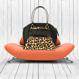 Haylee designer dog carrier - leopard with black patent