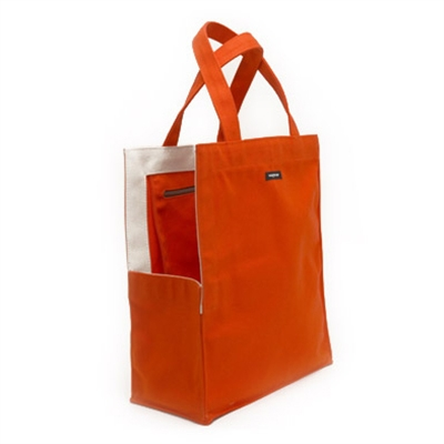 orange canvas shopping bag dog tote