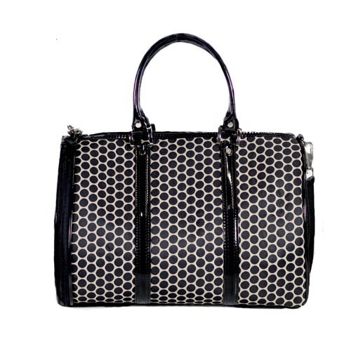 black-dot-duffle-dog-carrier