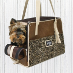 Ocelot print small dog travel carrier