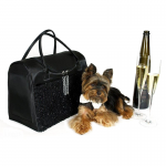 Yorkie with Black Tie Party Bag